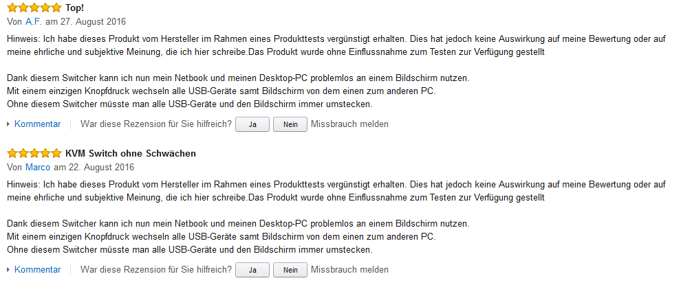 Amazon Copycat-Rezension